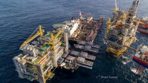 Johan Sverdrup processing platform was lifted in a single-lift operation on top of the jacket by the heavy-lift, decommissioning and pipe-laying vessel Pioneering Spirit (offshore)